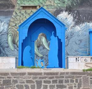 Sassari in piazza sant antonio il presepe blu dell for Idea casa immobiliare sassari